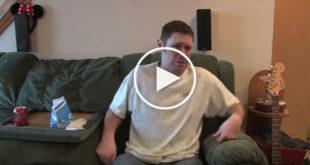 funny dog video, dog poops on human